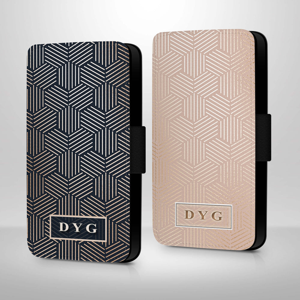 Glossy Geometric Pattern with Initials | iPhone Wallet Case design-your-gift.