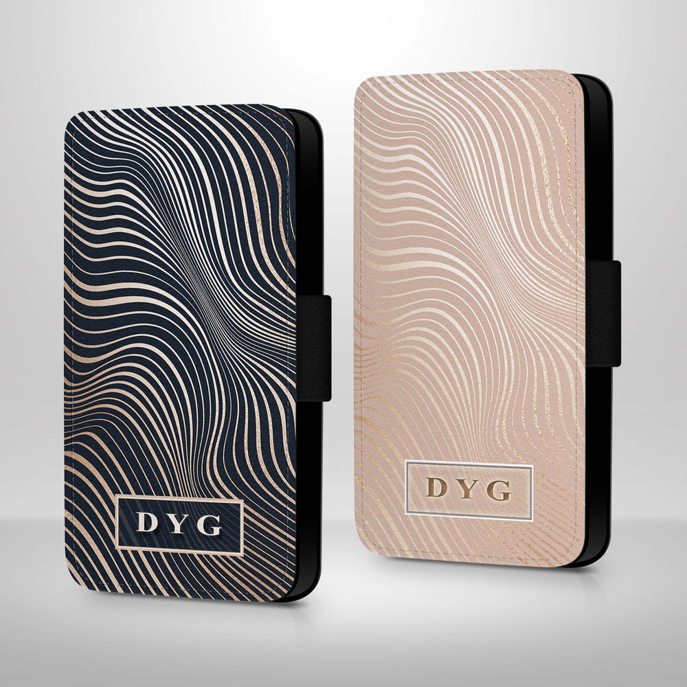 Glossy Waves Pattern with Initials | iPhone Wallet Case design-your-gift.