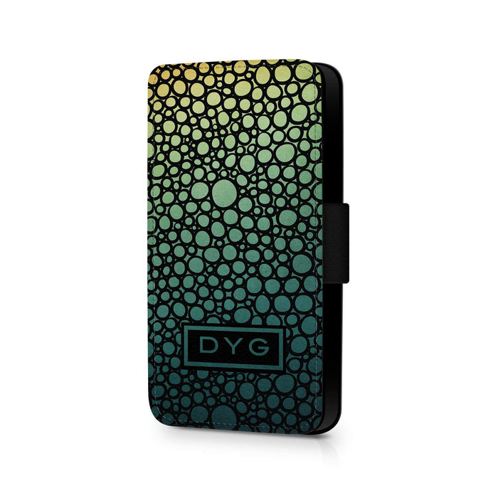 Bubbles Hollow With Initials | iPhone X Wallet Phone Case - Green Lake Colours Design