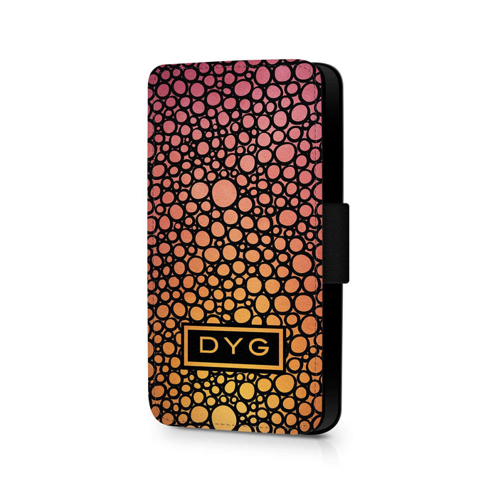 Bubbles Hollow With Initials | iPhone X Wallet Phone Case - Hot Summer Colours Design