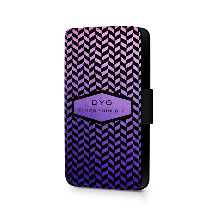 Geometric Hollow With Text | iPhone X Wallet Case - Purple Design