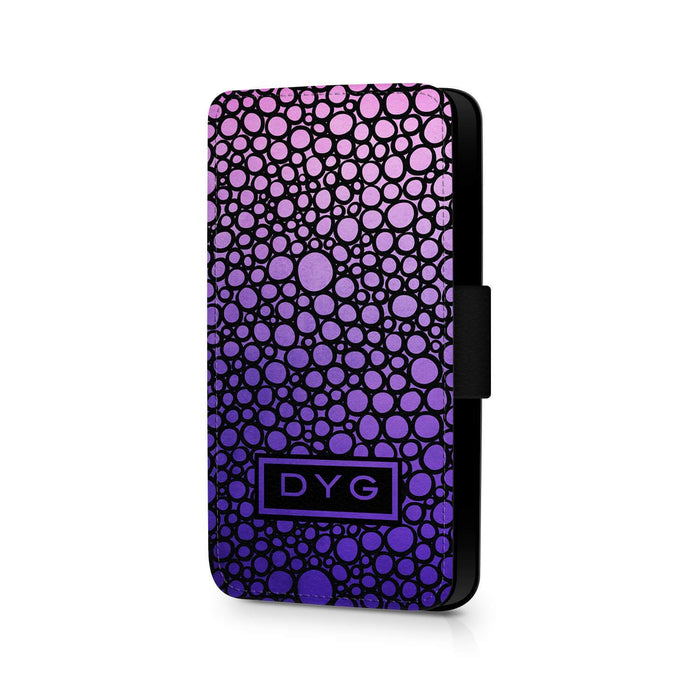 Bubbles Hollow With Initials | iPhone X Wallet Phone Case - Purple Design