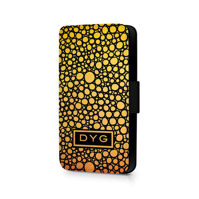 Bubbles Hollow With Initials | iPhone X Wallet Phone Case - Summer Colours Design