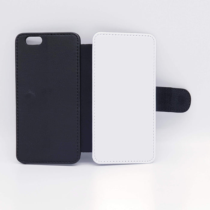 Black & White Pattern with Initials | iPhone 6 Wallet Case - back and front blank visual