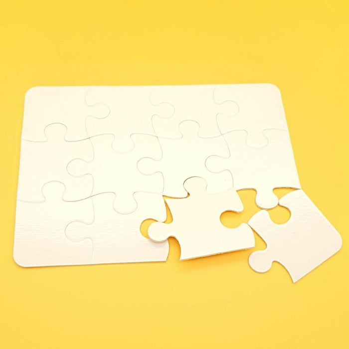 12 piece white jigsaw puzzle with 2 pieces unattached to the puzzle