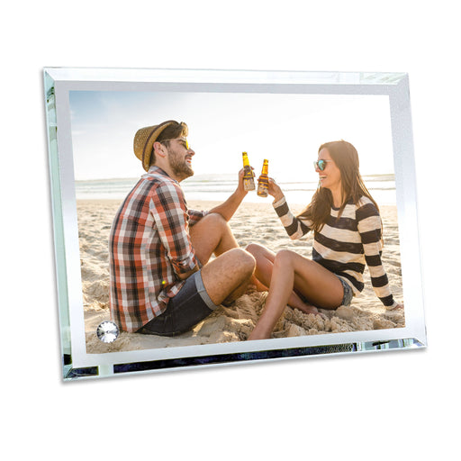 personalised glass photo block with pointy edges 22.5x18 cm printed with your picture