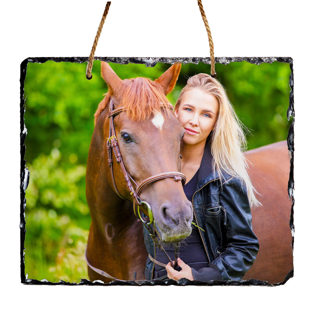Large Hanging Personalised Photo Slate 30x25cm design-your-gift.