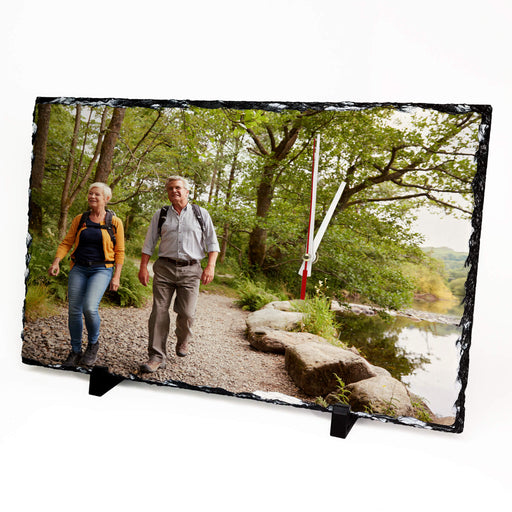 Large Personalised Photo Slate Clock 40x25cm design-your-gift.