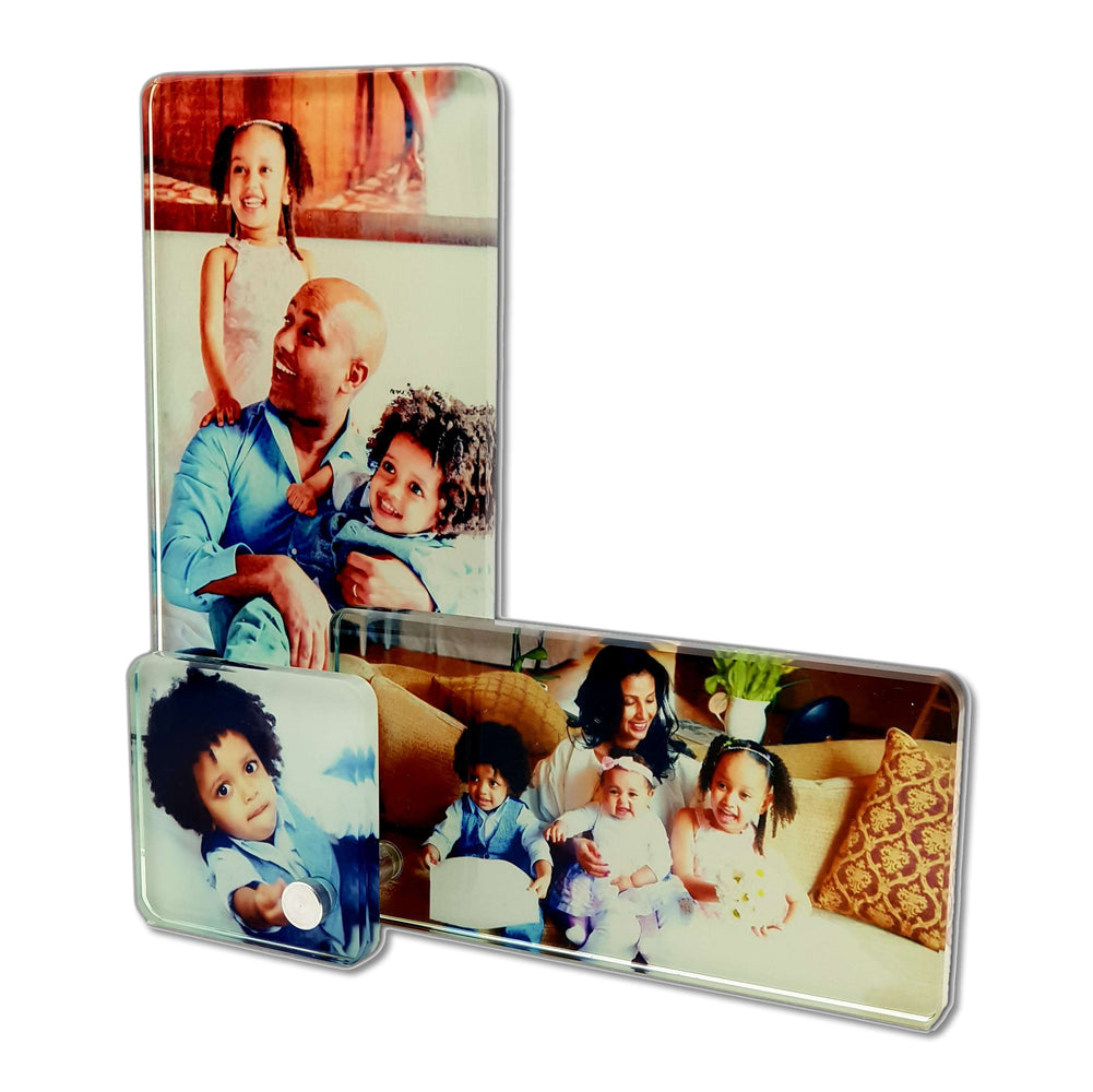 3 in 1 glass photo blocks printed with three family pictures for baby and boy girl mother and father