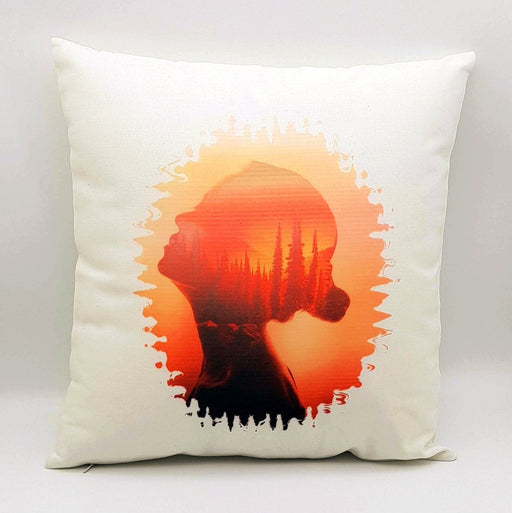 personalised cushion with art paint of sunset and a women head looking up