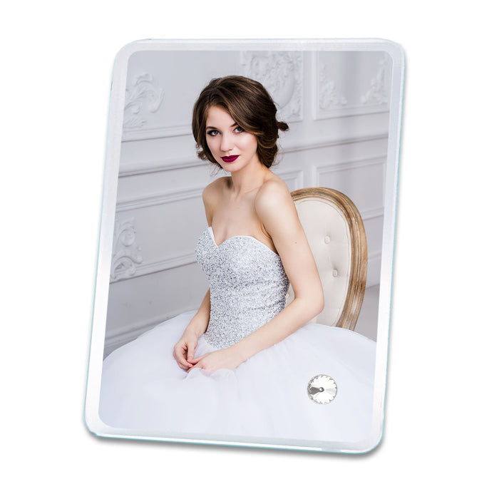 Personalised portrait Crystal photo block with round corners 13x18 cm printed with a wedding picture