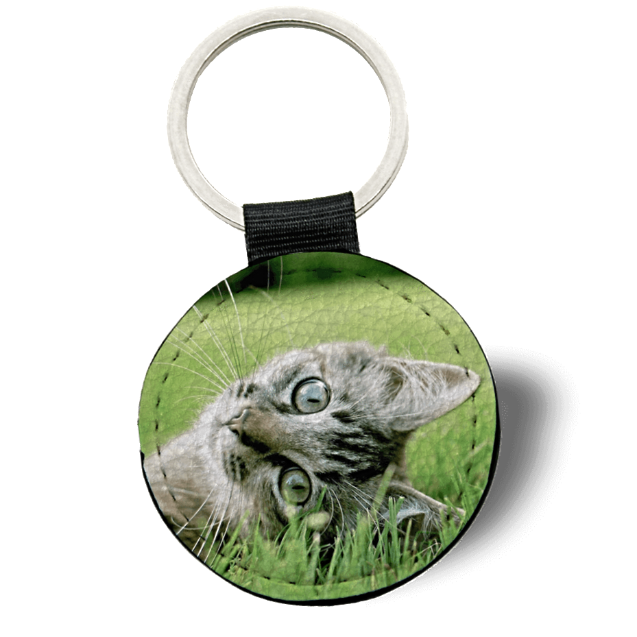 Double Sided Photo Keyring - Round Leather keyring design-your-gift.