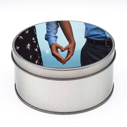 round personalised tin Box mad of aluminium