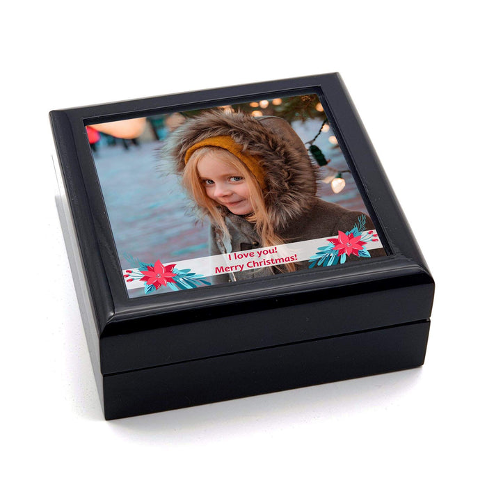 Personalised Christmas Greetings Box With Photo and Text - Black design-your-gift.