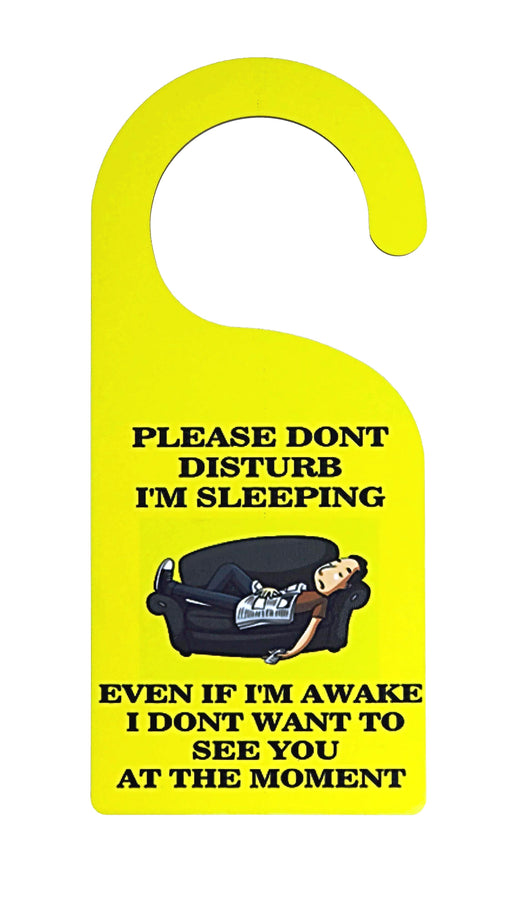 personalised door hanger with yellow background and a picture for a man sleeping on a sofa with do not disturb sign