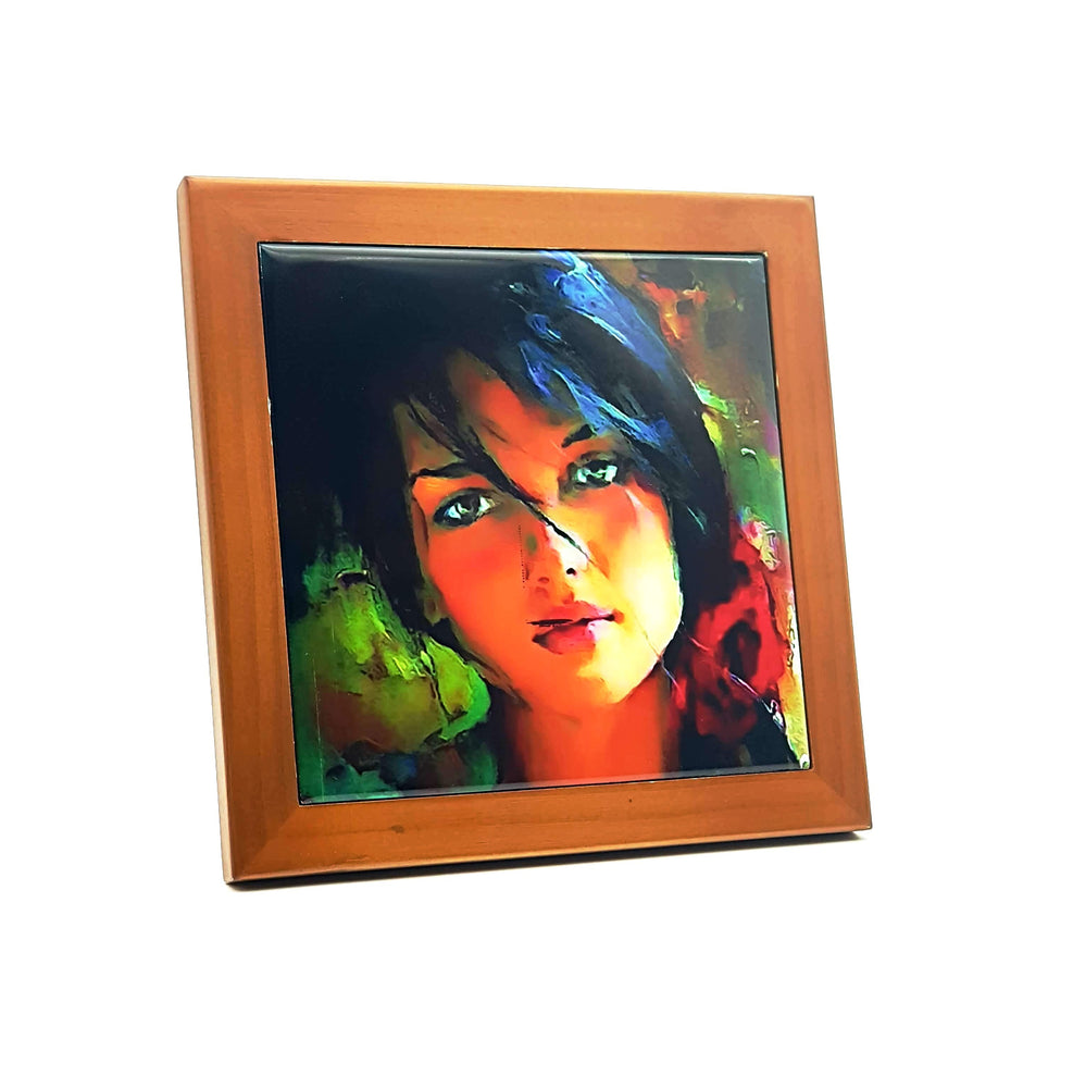 Ceramic Photo Tile and Pine Frame design-your-gift.