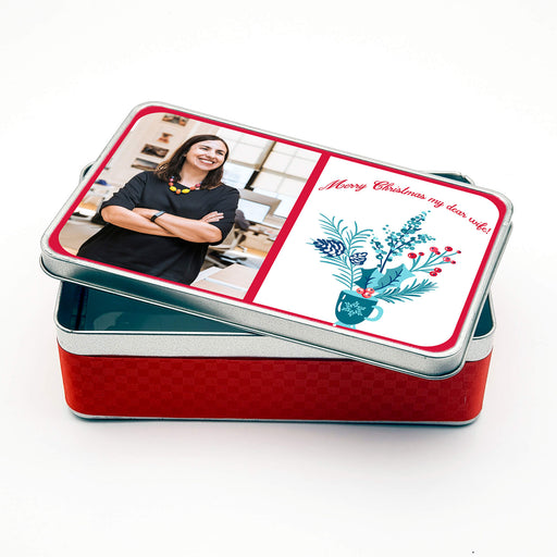 Personalised Rectangle Christmas Tin With Text And Photo design-your-gift.