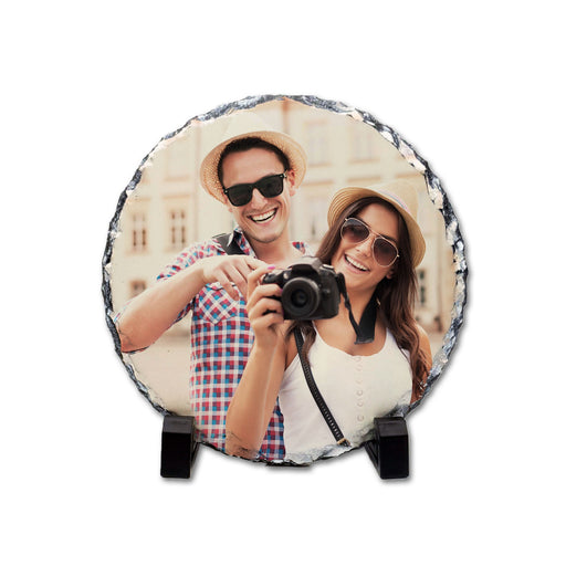 Personalised Round Photo Slate 15 cm diameter with 2 black legs