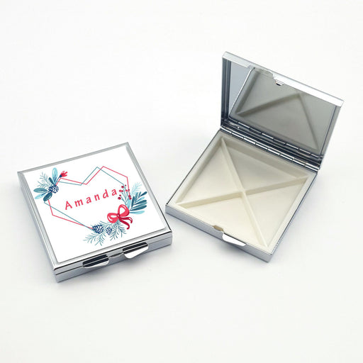 personalised square pill box with 4 compartments