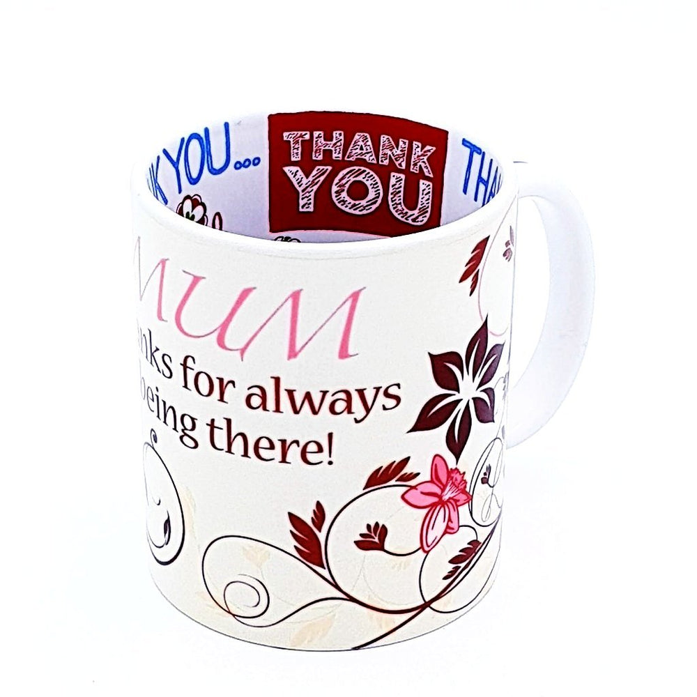 Personalised Thank you Mug with Hidden Message from the inside with several thank you messages