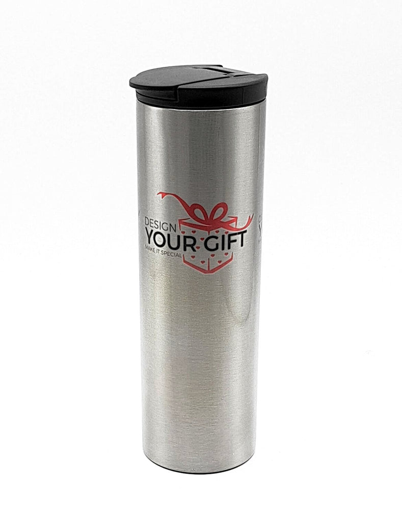 : personalised stainless-steel thermos travel mug with designyourgift.co.uk logo