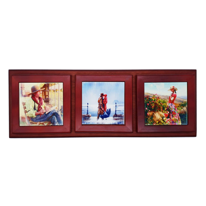 Personalised 3 Ceramic Photo Tiles in A Wooden Frame