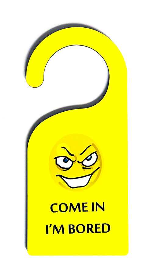 personalised door hanger with come in sign and emoji