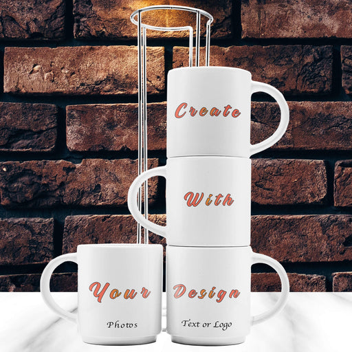 Personalised Stackable Mugs | 4 Mugs Set with Stand design-your-gift.