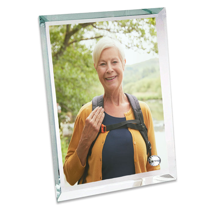 personalised glass photo block with pointy edges 18x22.5 cm printed with your picture