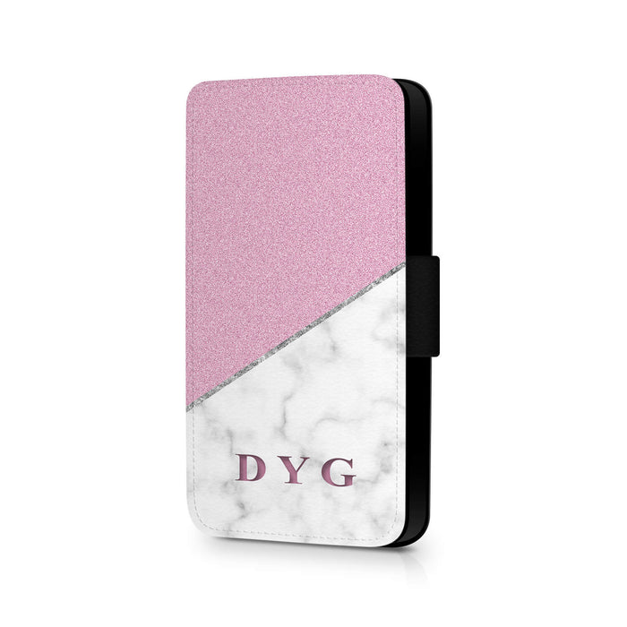 White marble & Glitter with Initials | Galaxy S6 Edge Wallet Case design-your-gift.