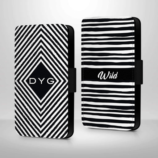 Personalised Galaxy S6 Wallet Case | Black & White Pattern
