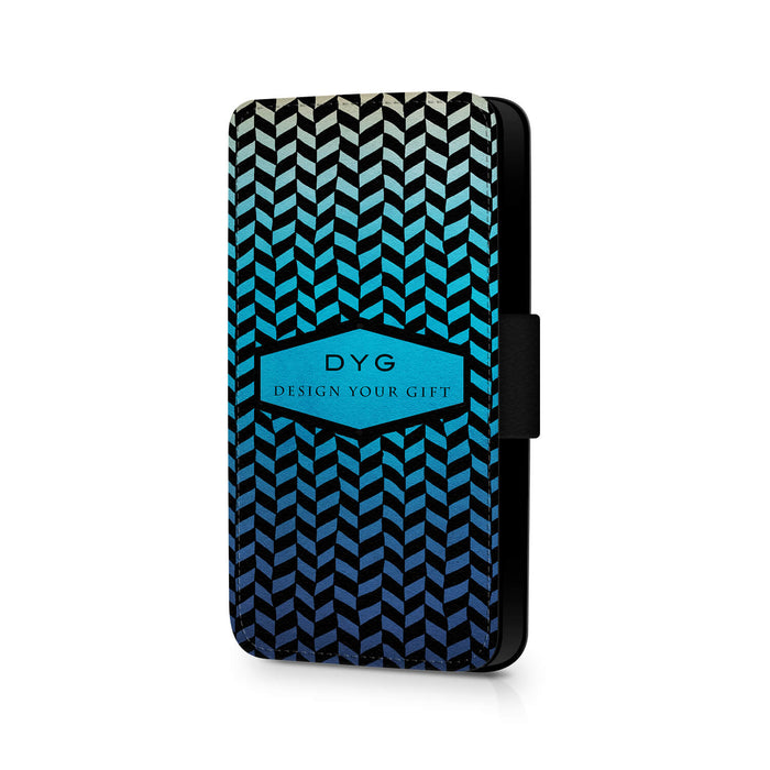 Personalised Galaxy S7 Wallet Case | Geometric Hollow Pattern - blue lagoon colours design