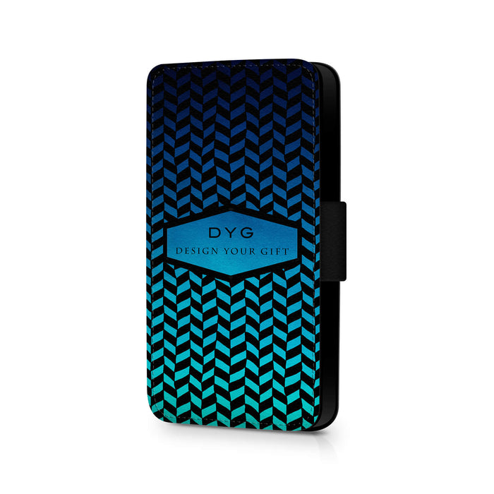 Personalised Galaxy S7 Wallet Case | Geometric Hollow Pattern - blue sky colours design