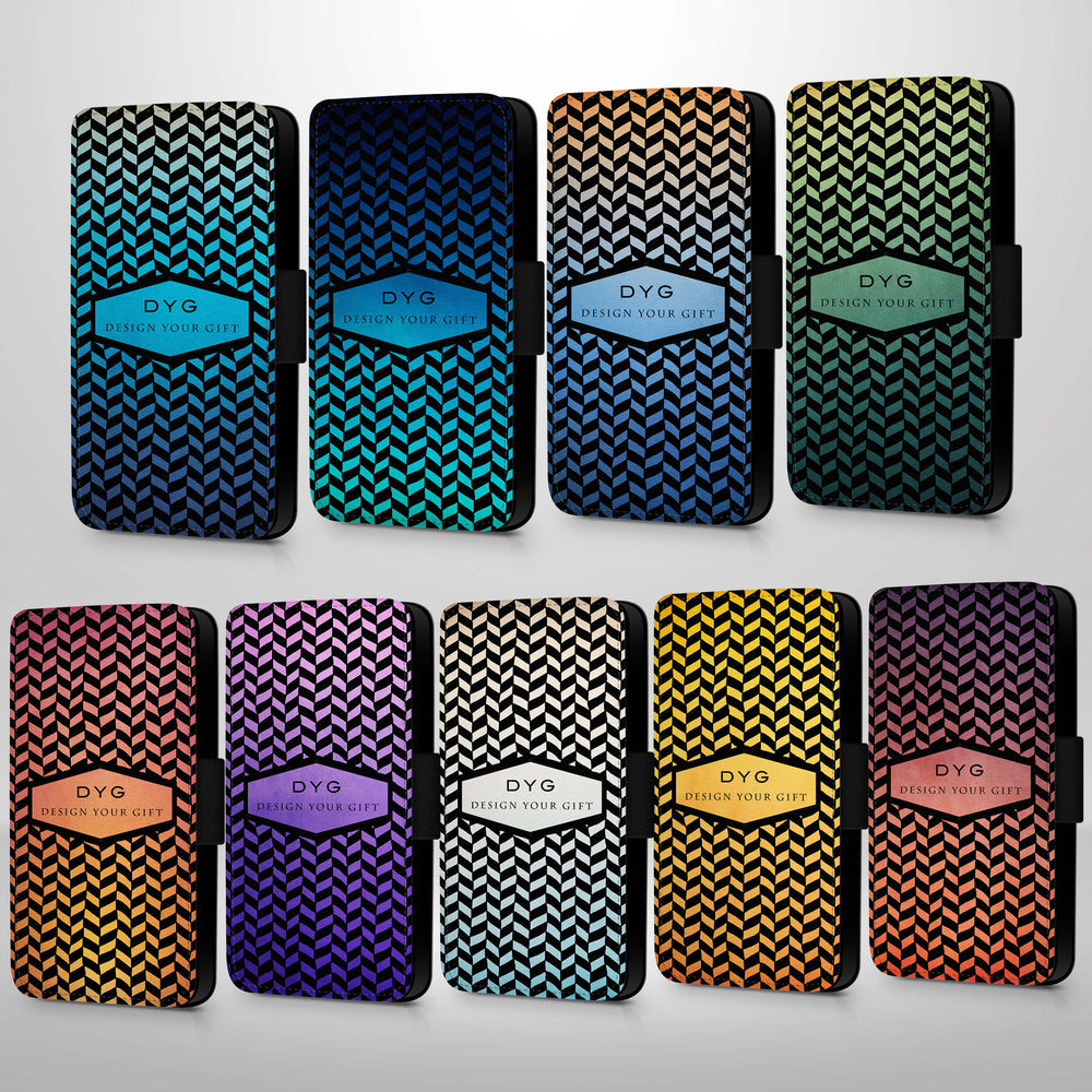 Personalised Galaxy S7 Wallet Case | Geometric Hollow Pattern - 9 variants of colour