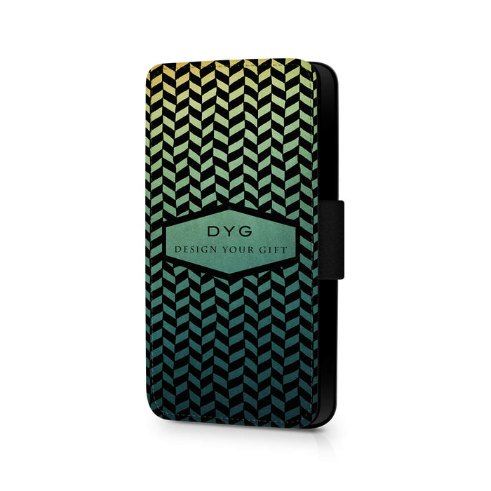 Personalised Galaxy S7 Wallet Case | Geometric Hollow Pattern - green lake colours design
