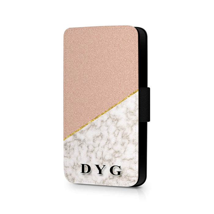 Personalised Galaxy S7 Wallet Case | Marble and Glitter Case - peach glitter with gold marble effect