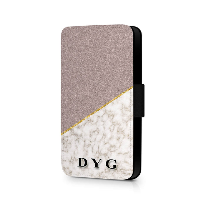 Personalised Galaxy S7 Wallet Case | Marble and Glitter Case - purple glitter with gold marble effect
