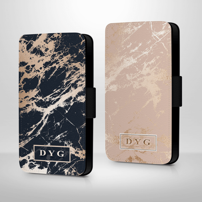Luxury Gloss Marble with Initials | Galaxy Wallet Phone Case design-your-gift.