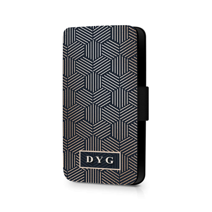 Geometric Pattern with Initials | Samsung Galaxy Wallet Case design-your-gift.