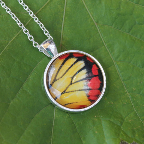 Painted Sawtooth Wing Butterfly Pendant Necklace, Red and Yellow Butterfly, Silver Butterfly Necklace, Picture Pendant with Butterfly