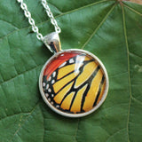 Monarch Butterfly Pendant Necklace, Butterfly Wing Necklace, Silver Butterfly Necklace, Picture Pendant with Butterfly, Entomology Necklace