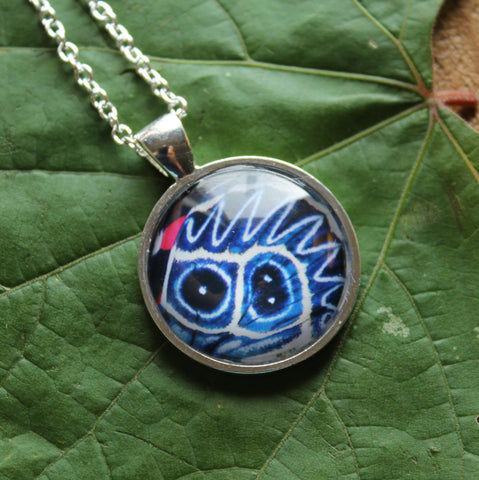 Blue and White Butterfly, Butterfly Pendant Necklace, Silver Necklace, Butterfly Wing Necklace, Picture Pendant of Wing, Entomology Necklace