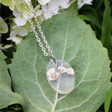 White Baby's Breath Necklace - Real Flowers Encased in Resin - Pressed Flower Jewelry - Flower Pendant - Resin Jewelry - Oval shape