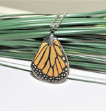 Real Monarch Wing v2, Monarch Necklace, Real Wing Necklace, Orange Butterfly Necklace, Danaus Plexippus Necklace, Entomology, Butterfly Wing