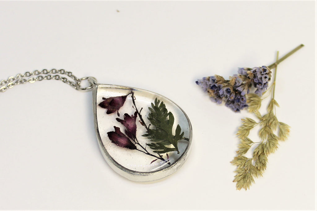 On sale handmade pendant necklace with natural dried flower,real Lobelia erinus pressed herbarium flower necklace,Botanical Jewelry
