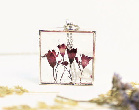 Coral Bells Real Pressed Flower Bezel Necklace, Dried Flowers Necklace, Pink Flower Necklace, Nature Necklace, Preserved Flowers, Coral Bell