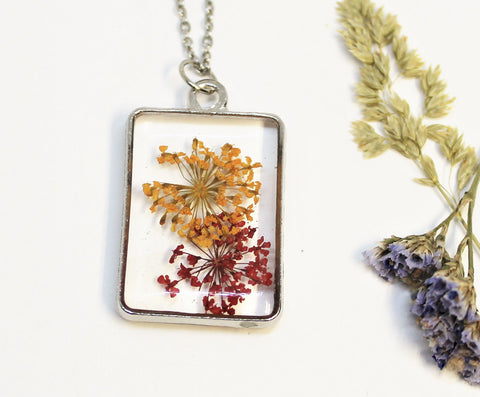 Real Pressed Queen Anne's Lace, Flower Bezel Necklace, Dried Flowers Necklace, Yellow and Red, Nature Necklace, Preserved Delicate Flower