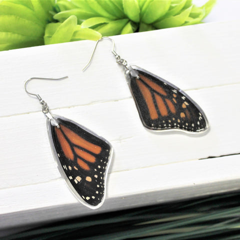 Real Monarch Wing Earrings, Monarch Earrings, Real Wing Earrings, Orange Butterfly Necklace, Danaus Plexippus, Entomology Jewelry, Butterfly