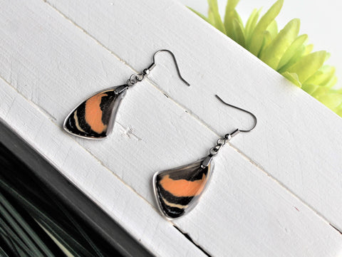 Callicore Aegina Wing Earrings, Red Butterfly Wings, Butterfly Wing Earring, Butterfly Wing Preserved, Wing Encased in Resin, Entemology