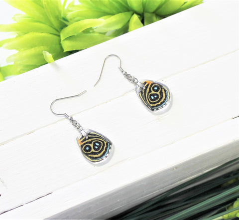 Callicore Eunomia Lower Wing Earrings, Black Wings, Butterfly Wing Earring, Butterfly Wing Preserved, Wing Encased in Resin, Entemology